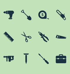Tools icons set collection of tool saw handsaw vector