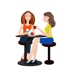 Two beautiful women sitting in a cafe and talking vector