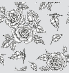 vintage rose flowers buds and leaves seamless vector image vector image