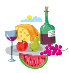 Dinner with fruits and wine vector