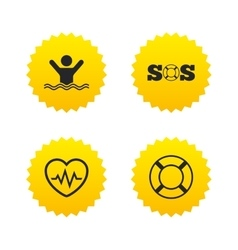 Sos lifebuoy icon heartbeat cardiogram vector