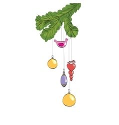 Christmas toys hanging on a furry branch vector