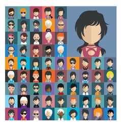 Set of people icons in flat style with faces 16 a vector