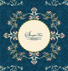 Vintage floral frame on damask background vector