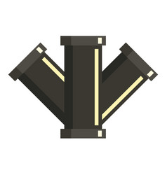 Tee plumbing fitting icon flat style vector