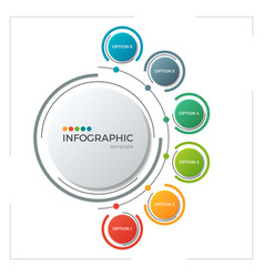 Circle chart infographic template with 6 options vector
