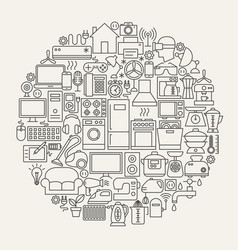 Household line icons circle vector