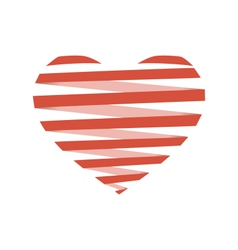Red flat spiral heart like origami isolated on vector