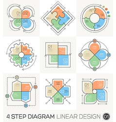 Circle gear arrows set linear line design elements vector