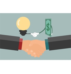 Businessman handshake  exchange money and idea vector