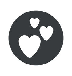 Monochrome round love icon vector