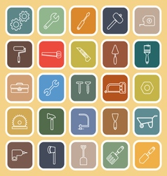 Tool line flat icons on yellow background vector