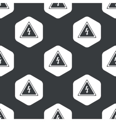 Black hexagon high voltage pattern vector