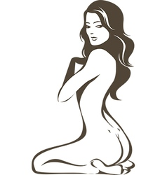 Nude female figure vector