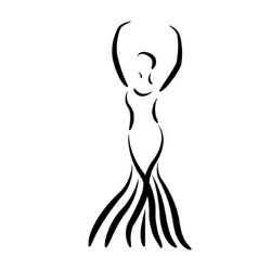 Sketched dancing girl in a long dress isolated vector