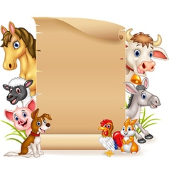 Cartoon funny farm animals with blank sign vector image