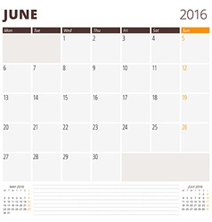 Calendar template for june 2016 week starts monday vector