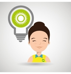 Woman and environment isolated icon design vector