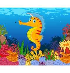 Funny seahorse cartoon with beauty sea life backgr vector