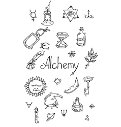 Alchemy symbols bw vector