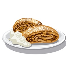 apple strudel with sour cream vector image