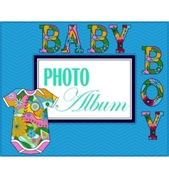 Baby photo album cover vector