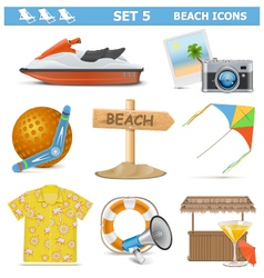 Beach Icons Set 5 vector image vector image