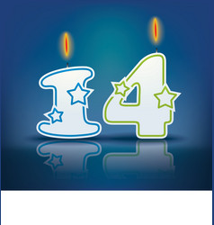 Birthday candle number 14 vector image vector image