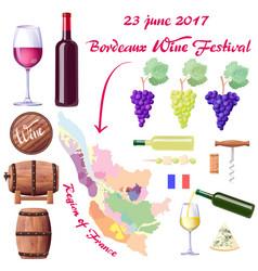 Bordeaux wine festival on 23 june 2017 poster vector
