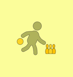 Bowling game pin ball design flat stock vector