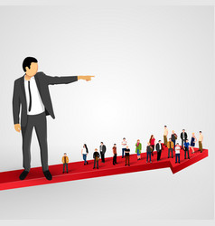 businessman sends the crowd ahead vector image vector image
