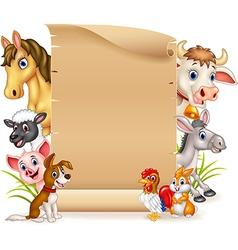 Cartoon funny farm animals with blank sign vector