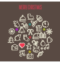 Christmas background with set of icons vector image vector image