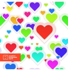Colorful Paper Hearts Seamless Pattern vector image vector image