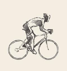 Drawn bicyclist rider man sketch bicycle vector