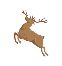 Elk stag deer jumping retro style vector