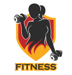 fitness emblem with training girl and shield vector image