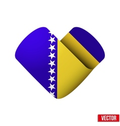 Flag icon in the form of heart i love bosnia and vector