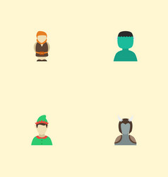 Flat icons elf avatar character and other vector