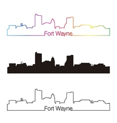 Fort Wayne skyline linear style with rainbow vector image