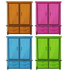 Four different colors of a wooden cabinet vector image