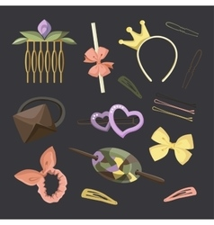 Hair accessories object set vector