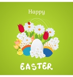 Happy easter card with eggs flowers poster vector