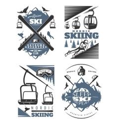 Nordic skiing emblem design set vector