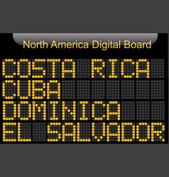 North america country digital board information vector