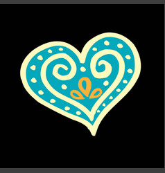 Patterned blue heart on a black background vector