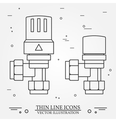 Radiator valves icons thin line for web and mobile vector