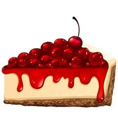 Red cherry cheesecake vector