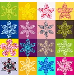Set of four colorful floral patternsCopy square to vector image vector image