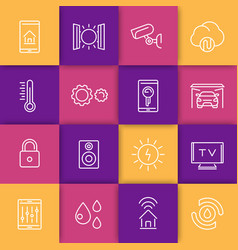 smart house technology system line icons vector image